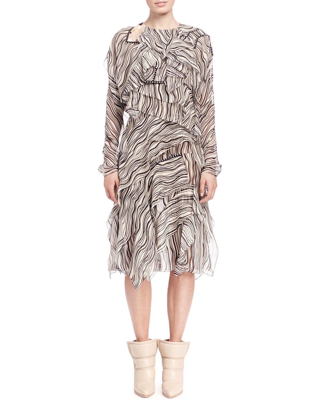 Long-Sleeve Wave-Print Dress