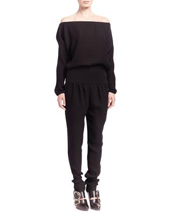 Off-Shoulder Crepe Jumpsuit