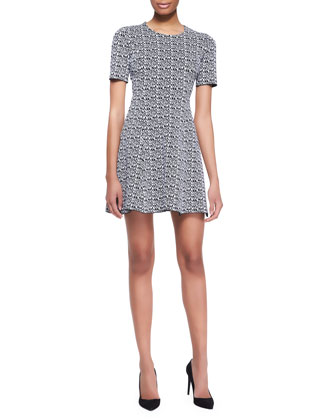 Printed Tech-Knit Flare Dress