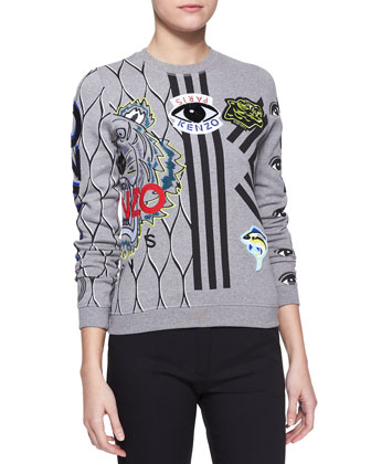 Embroidered Multi-Icon Sweatshirt