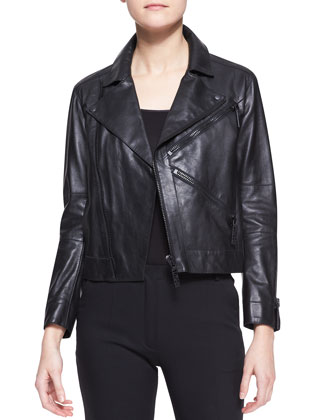 Leather Zip Motorcycle Jacket