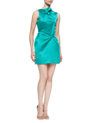 Zonda Sateen Drape-Neck Satin Dress