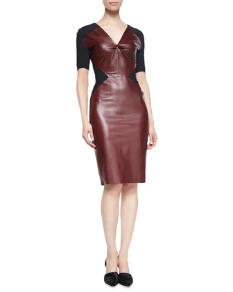 Nabis Knit-Inset Leather Short-Sleeve Dress