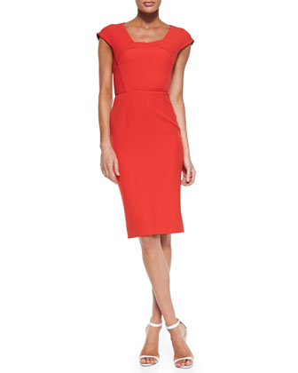 Hirta Cap-Sleeve Dress with Folded Neckline, Poppy Red