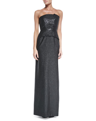 Cimex Shimmery Strapless Column Gown