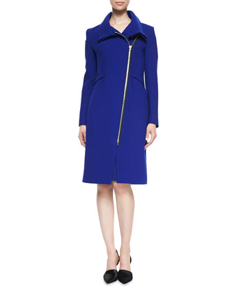 Drymus Asymmetric-Zip Long Coat, Royal Blue
