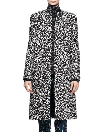 Collarless Jacquard Coat