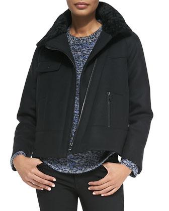 Shearling-Collar Zip Jacket, Black