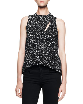 Sleeveless Printed Overlap Blouse