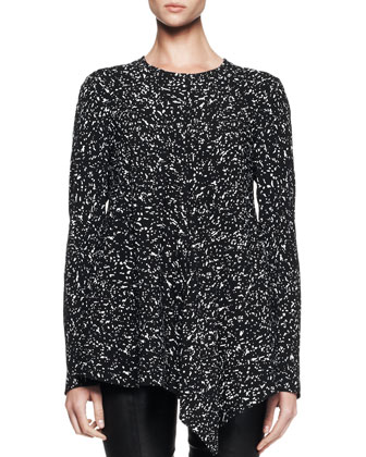 Asymmetric Long-Sleeve Printed Tee