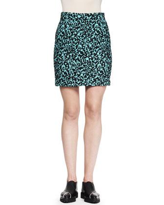 Printed Flocked Mini Skirt, Aqua/Black