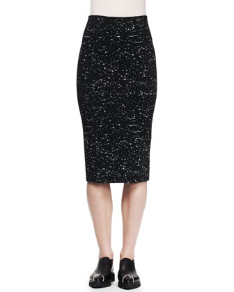 Splatter-Print Pencil Skirt