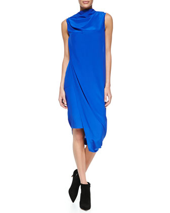 Pauli Crepe Sleeveless Draped Dress
