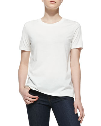 Vista Jersey Short-Sleeve Top, White