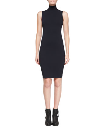 Compact Sleeveless Turtleneck Dress