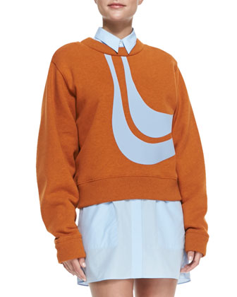 Abstract Bird Applique Sweatshirt, Orange/Sky Blue