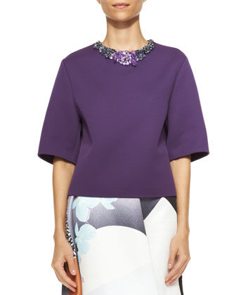 Short-Sleeve Shirt with Jeweled Neckline