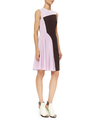 Sleeveless Horizon Colorblock Dress, Mulberry