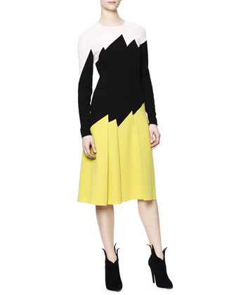 Long-Sleeve Zigzag Colorblock Dress