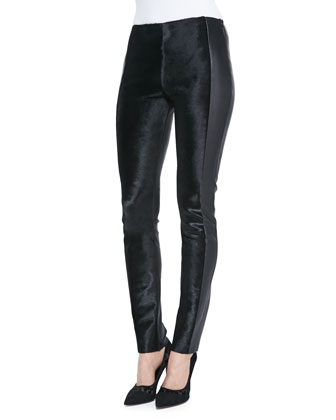 Stretch Calf Hair Paneled Leather Pants