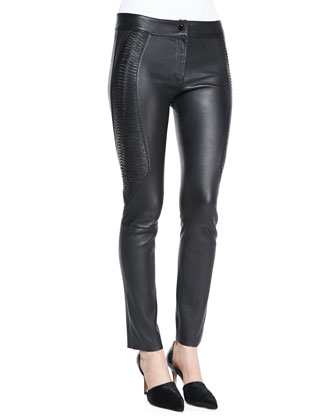 Side-Embroidery Leather Pants