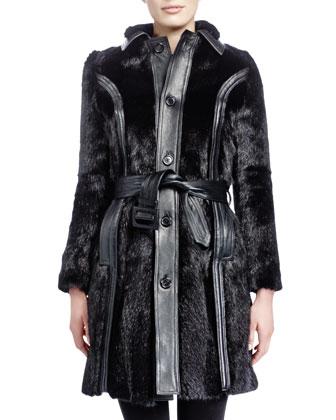 Mid-Length Marmot Fur Coat, Noir