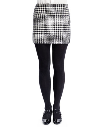Mini Houndstooth Plaid Skirt, Noir/Blanc