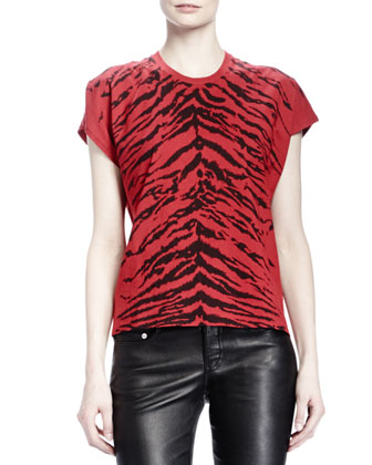 Short-Sleeve Zebra-Print T-Shirt, Rouge/Noir