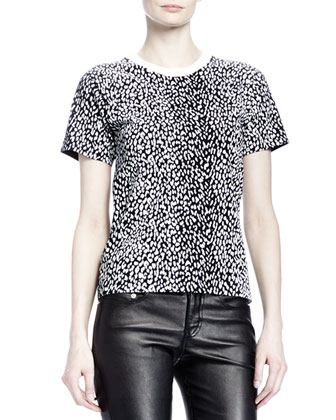 Short-Sleeve Mini Leopard-Print Tee, White/Black