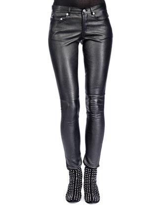 Leather Skinny Pants, Noir