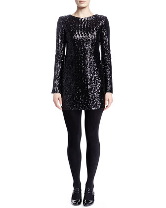 Long-Sleeve Sequined Minidress, Noir Brilliant