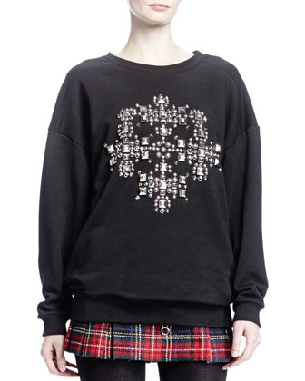 Oversized Cross-Studded Sweater, Noir/Argent