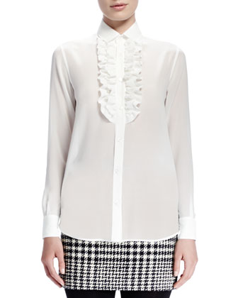 Silk Georgette Blouse with Ruffled Bib, Shell