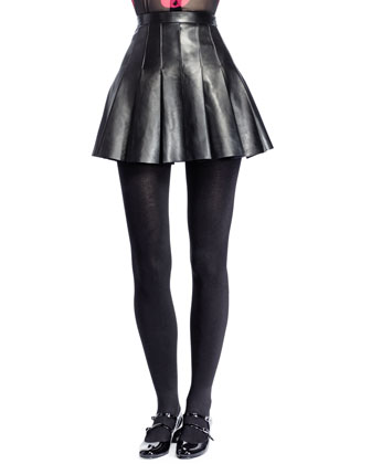 Pleated Leather Miniskirt, Noir