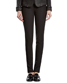 Black Stretch Pants with Leather Detail