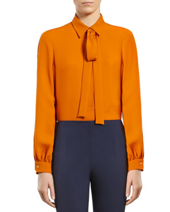 Light Orange Silk Shirt