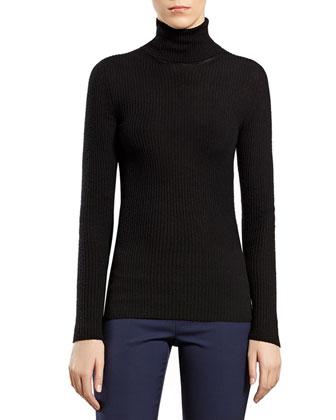 Black Cashmere Ribbed Cashmere Turtleneck Sweater