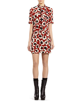 Leopard-Print Crepe de Chine Dress