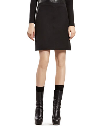 Black Military Skirt with Leather Trim