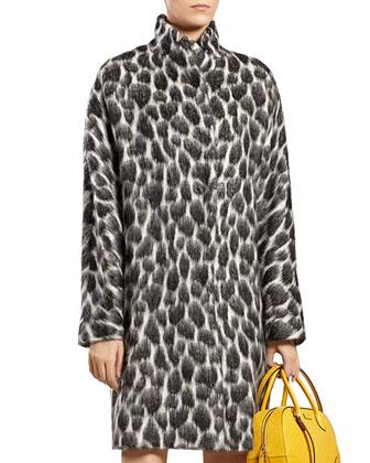 Animalier Mohair-Blend Coat