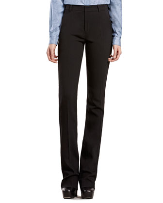 Black Stretch Wool Flared Pants