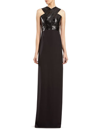 Black Silk and Python Gown