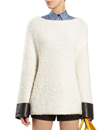 White Wool Blend Top with Leather Cuffs
