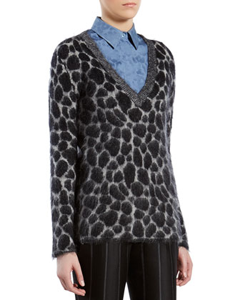 Leopard-Effect Mohair V-Neck Sweater
