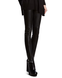 Black Stretch Leather Leggings