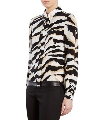 Tiger-Print Crepe de Chine Shirt