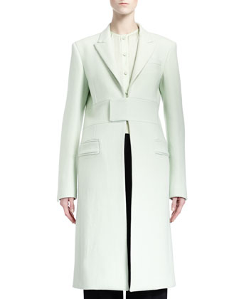 Band-Detail Long Coat, Pale Green