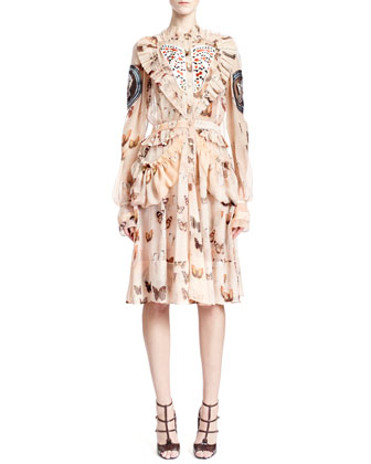 Long-Sleeve Butterfly-Print Silk Dress, Pink