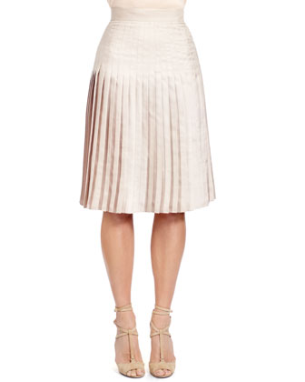 Stitch-Down-Pleated Skirt, Taupe-Beige