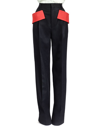 Red-Banded Pleated Wool Pants, Black
